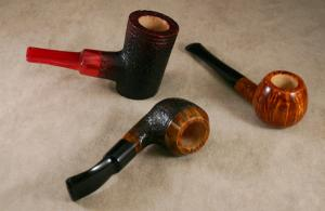 3 handmade pipes. A Poker, Rhodesian and a smooth Prince style tobacco pipe.
