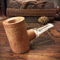 Natural finish poker style tobacco pipe
