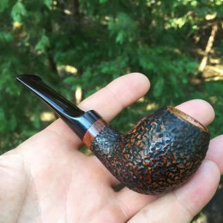 Sierra Tadpole Tobacco Pipe - rustic pipe with German Cumberland Stem