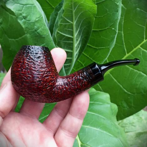 Rustic Bent Egg Tobacco Pipe with Hand Cut Stem by Kraig Sederquist