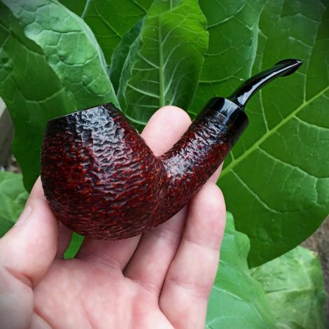 Rustic Bent Egg Tobacco Pipe with Hand Cut Stem
