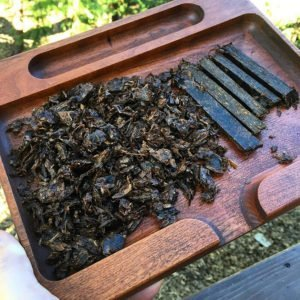 Pressed tobacco after a week in the C Clamp tobacco press