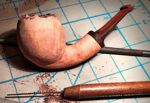 handmade briar pipe being made by Kraig Sederquist