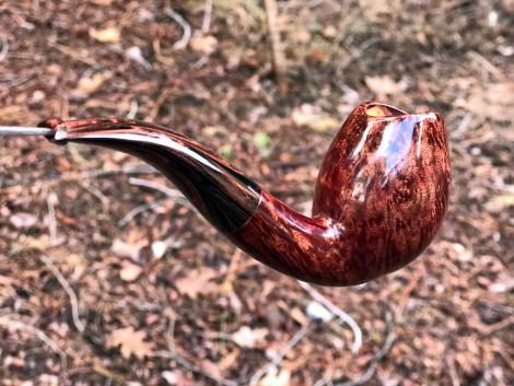 Smooth egg tobacco pipe with cuberland stem by Kraig Sederquist