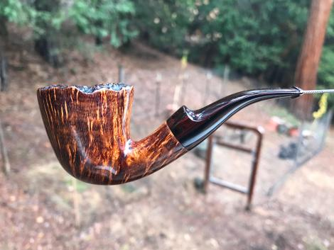 Rustic smooth Dublin tobacco pipe with plateau top by Kraig Sederquist