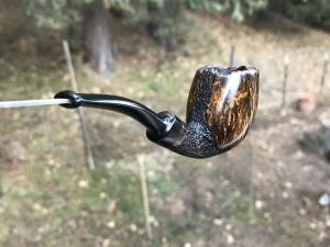 Mini Danish egg tobacco pipe with rustication by Kraig Sederquist