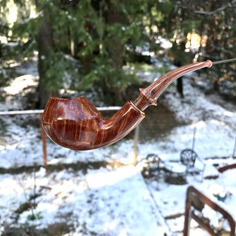 The Bridgeport Freehand Tobacco Pipe with Military Mount Stem by Kraig Sederquist